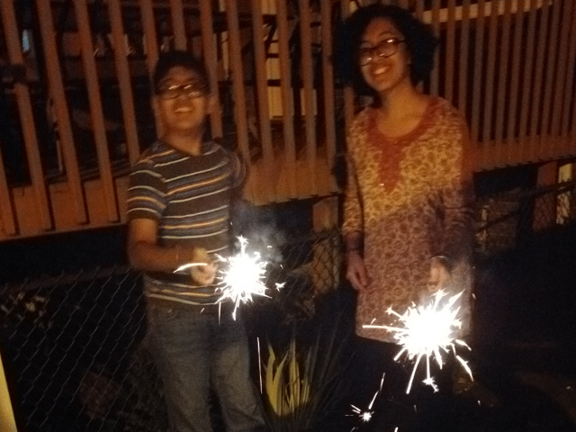 Sparklers on Diwali.